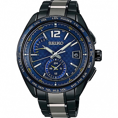 SEIKO精工BRIGHTZ鈦金屬太陽能電波腕錶(SAGA265J)-藍