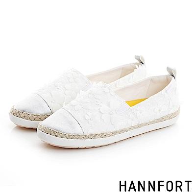 HANNFORT CALIFORNIA蕾絲花朵鉛筆漁夫鞋-女-純淨白