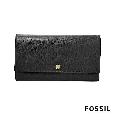 FOSSIL AUBREY金釦設計多功能零錢長夾-黑色