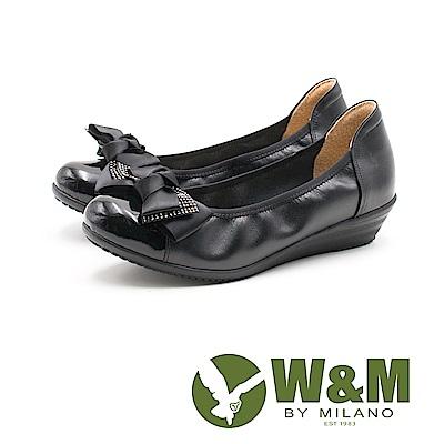 W&M 淑女蝴蝶結 圓頭彈力帶牛皮低跟鞋 女鞋-黑(另有深藍) @ Y!購物