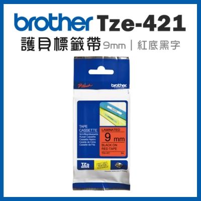 Brother TZe-421 護貝標籤帶 ( 9mm 紅底黑字 )