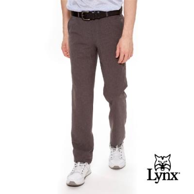 【Lynx Golf】男款日本進口布料類麻質感平口休閒長褲-灰色