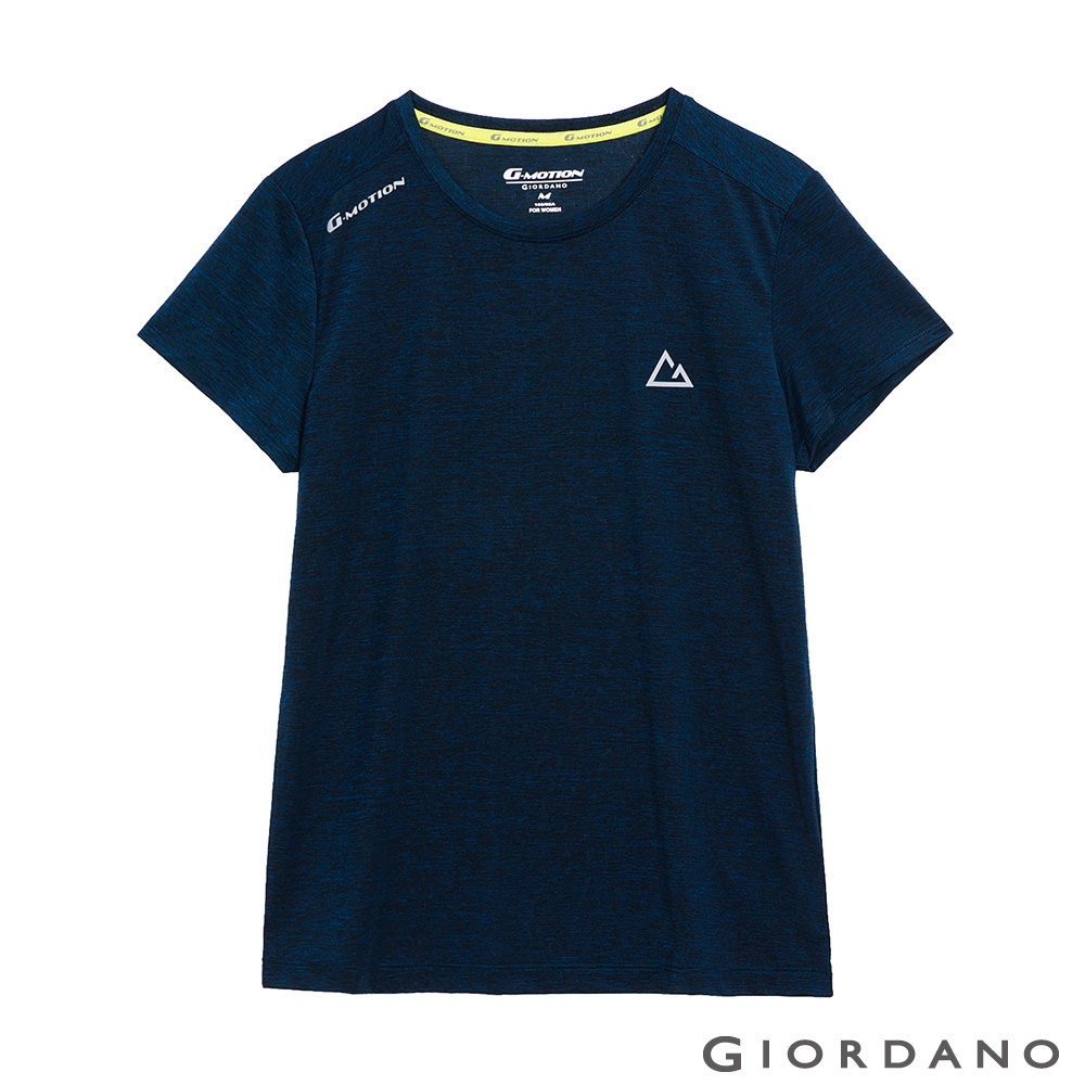 GIORDANO 女裝G-MOTION超輕涼感T恤 - 73 仿段彩海軍藍
