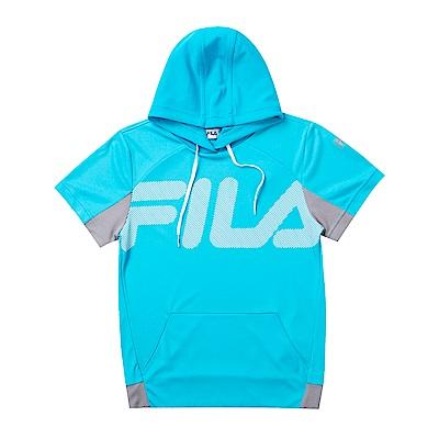 FILA KIDS 童抗UV吸濕排汗附帽上衣-青綠1TET-4304-TQ