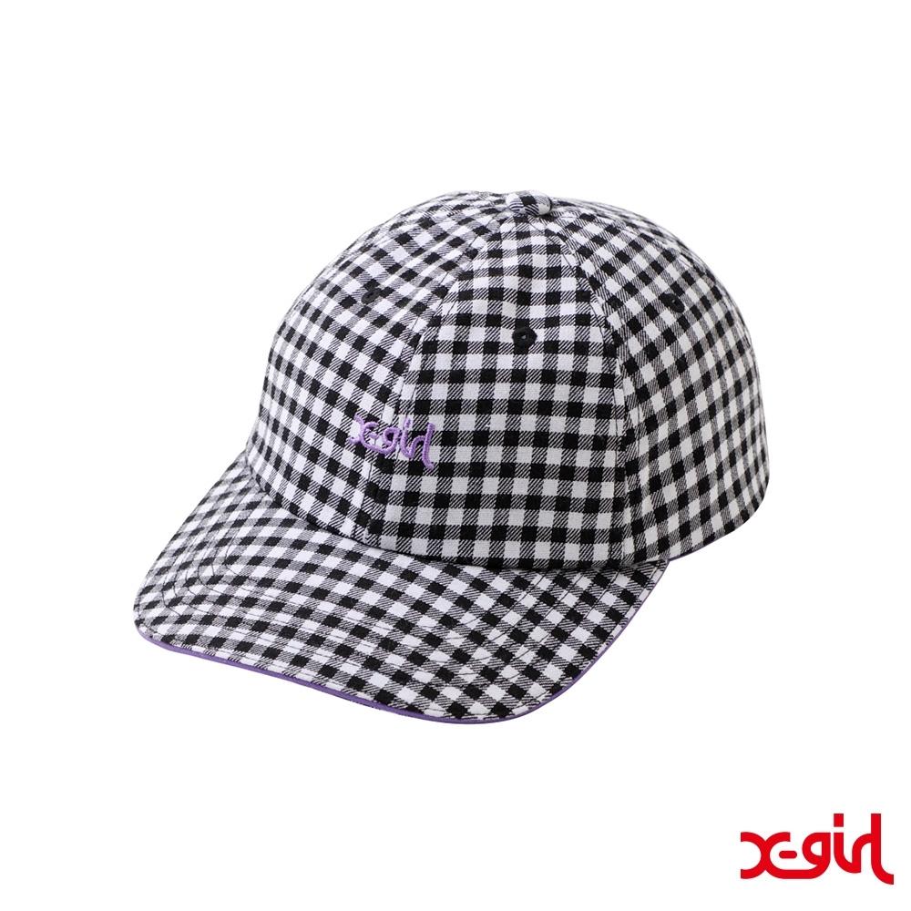 X-girl MILLS LOGO 6PANEL CAP刺繡老帽-白(黑白格紋)
