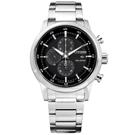 CITIZEN 星辰表 光動能三眼計時防水不鏽鋼手錶-灰黑色/43mm
