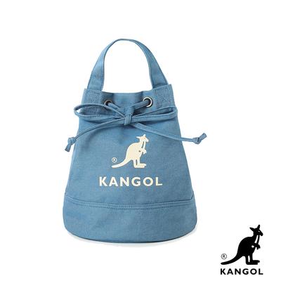 KANGOL 韓版玩色系列-牛仔斜背水桶包-淺藍AKG1214