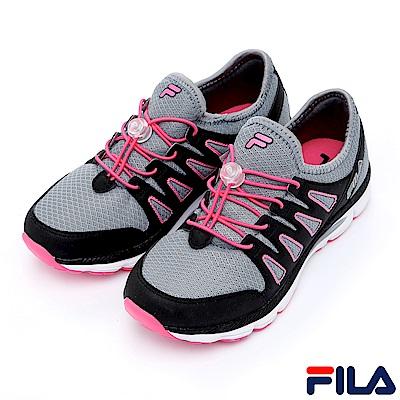 FILA 女輕量慢跑鞋-灰黑5-J201R-420