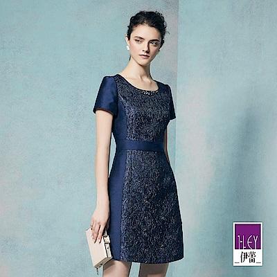 ILEY伊蕾 優雅花卉縫飾質感洋裝(藍)