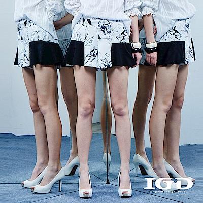 IGD英格麗 趣味動物印花拼接荷葉褲裙-白色