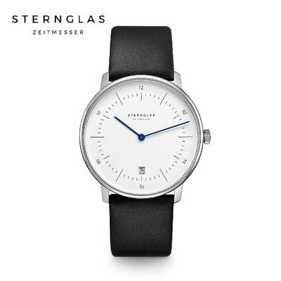 STERNGLAS 德國希丹格斯 S01-NA01-PR07 簡約時尚白盤文青石英錶(黑錶帶) 38mm 男/女錶