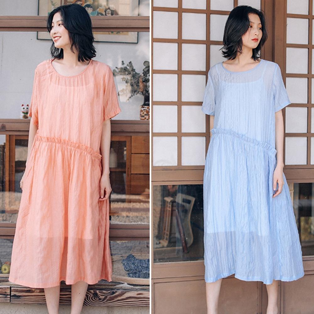 洋裝-高端天絲亞麻寬鬆棉麻長裙-設計所在
