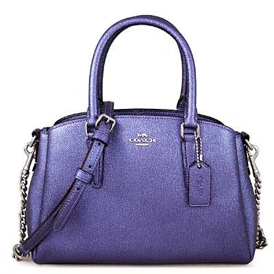 COACH 銀馬車Logo珠光皮革鏈袋三層兩用包(長春花紫色、小款)