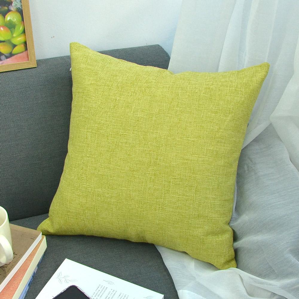 簡約素色 棉麻舒適方型抱枕-黃綠