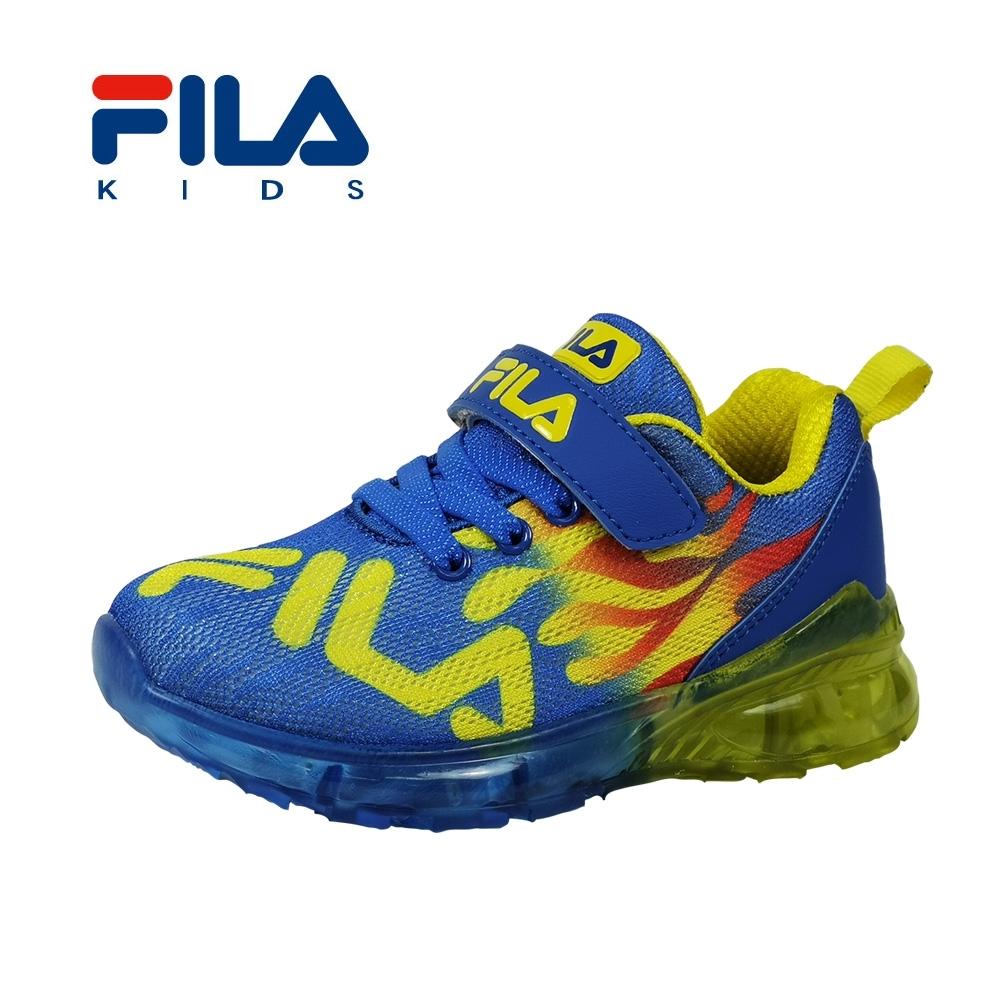 FILA 電燈運動鞋 藍黃 中童(4~6歲) 2-J825T-399
