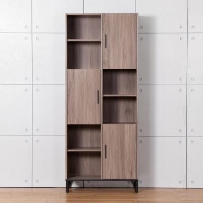 D&T德泰傢俱 BROOK淺胡桃木2.7尺右上門書櫃-81x40x200cm