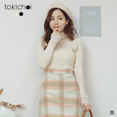 東京著衣 高CP微高領蕾絲拼接坑條針織上衣(共二色)