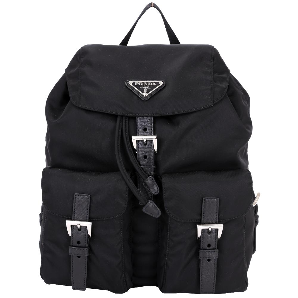 PRADA 小款 三角牌雙口袋尼龍後背包(黑色)
