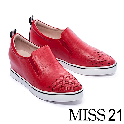 休閒鞋 MISS 21 質感純色編織造型全真皮內增高休閒鞋-紅