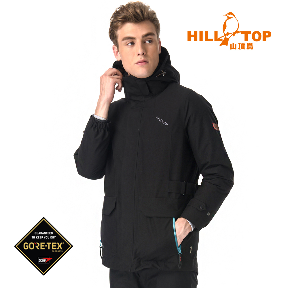 【hilltop山頂鳥】男款GORETEX兩件式防水羽絨拆袖短大衣F22MX1黑