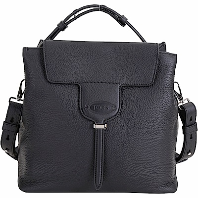 TOD'S New Joy Bag T釦翻蓋牛皮手提肩背包(黑色)