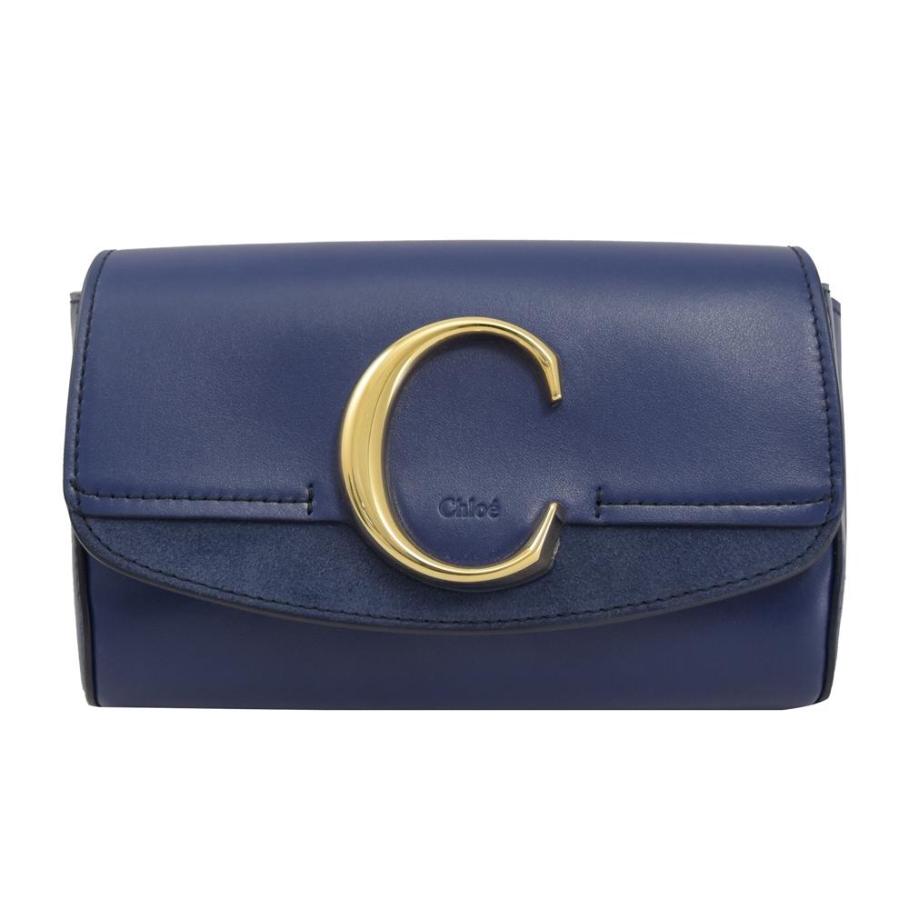 CHLOE C Bag系列牛皮拼接造型腰包(深藍)