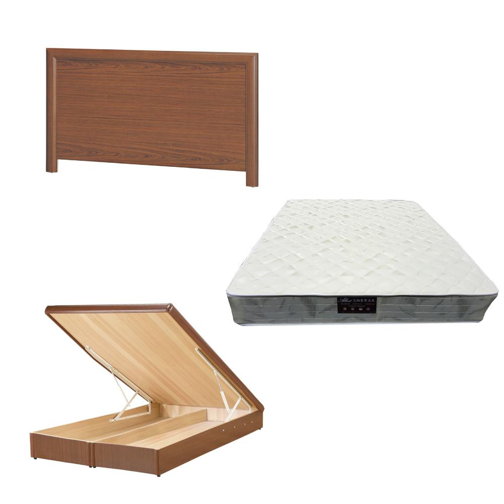 綠活居 羅多6尺雙人加大床台三式組合(床頭片+後掀床底+抗菌防蹣獨立筒)五色可選