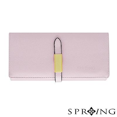 SPRING-法式優雅格調方釦長夾-淺淺粉紫