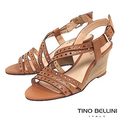 Tino Bellini 巴西進口牛皮沖孔羅馬線條楔型涼鞋 _ 棕