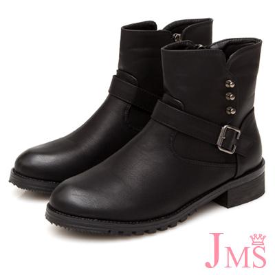 JMS-英式潮流鉚釘搭扣工程短靴-黑色