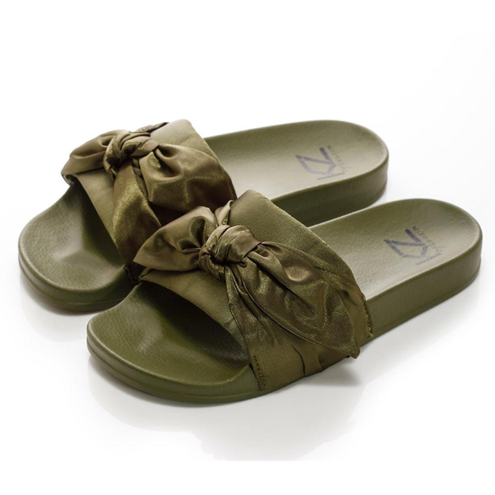 (女)KRUZIN 蝴蝶結拖鞋-綠