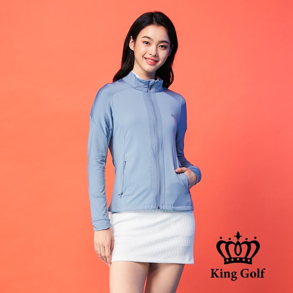 【KING GOLF】素面長袖立領夾克外套-淺藍