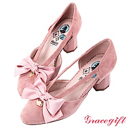 Disney collection by grace gift緞帶蝴蝶結側縷空跟鞋 粉