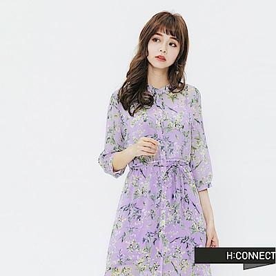 H:CONNECT 韓國品牌 女裝-飄逸感碎花綁帶洋裝-紫