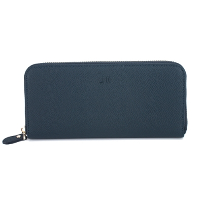 J II-長夾 壓紋ㄇ型牛皮拉鍊長夾-深藍色-5101-3
