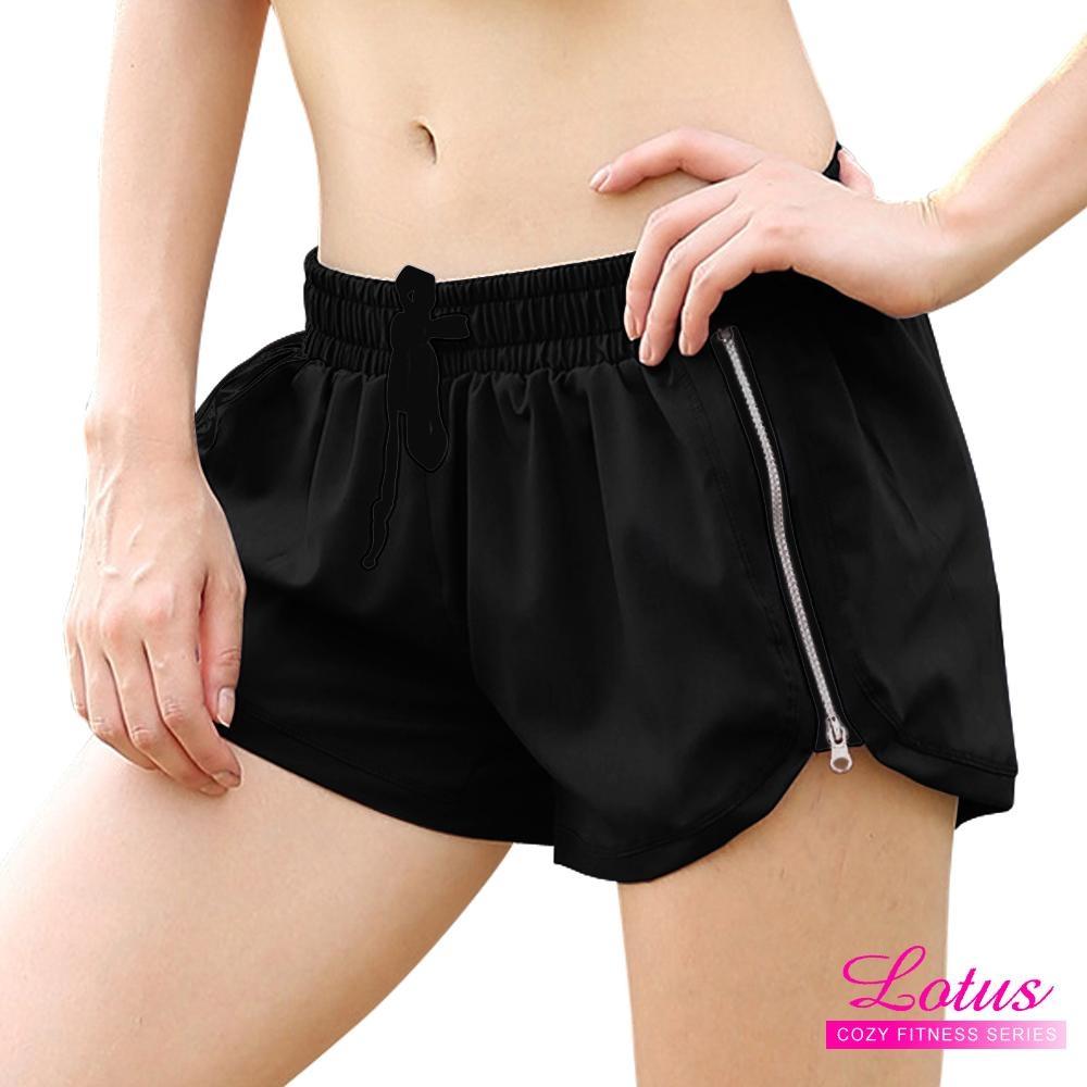 運動褲 跑步快乾側邊拉鍊雙層運動短褲 M-XL LOTUS