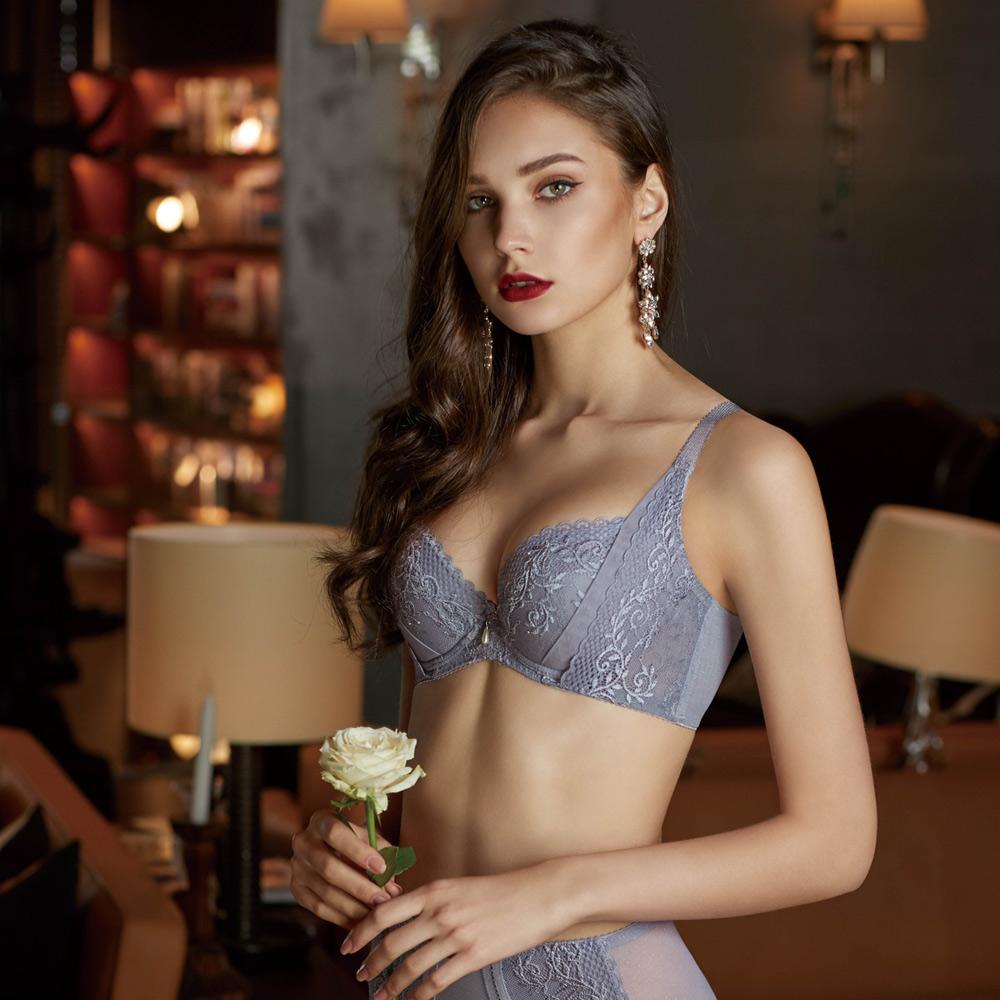 曼黛瑪璉 V極線內衣  E-F罩杯(灰藍)
