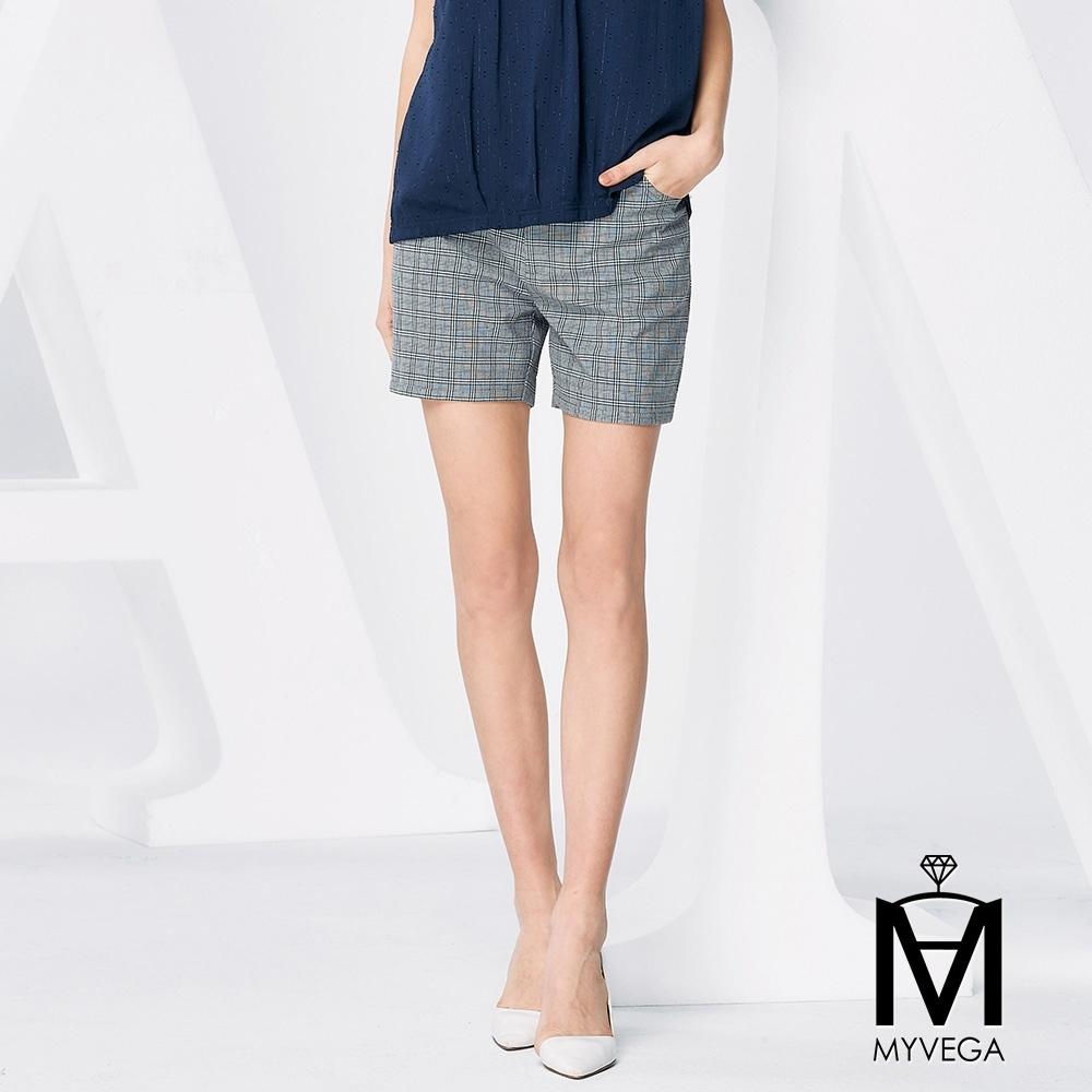 麥雪爾 MA英倫格紋西裝短褲-灰