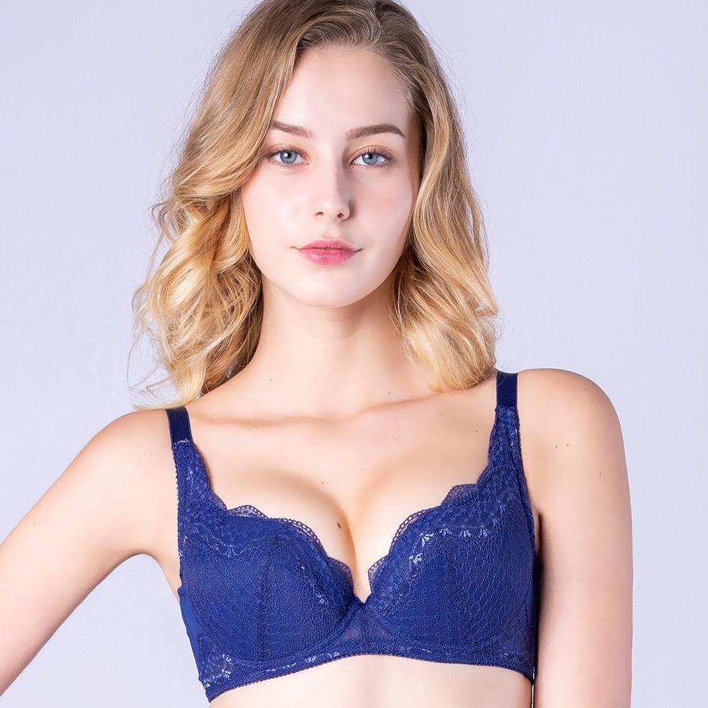 思薇爾 晴星系列B-F罩蕾絲包覆內衣(海軍藍)