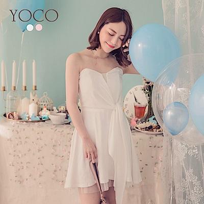 東京著衣-YOCO  仙女onni平口蝴蝶結綁帶傘襬洋裝-XS.S(共兩色)