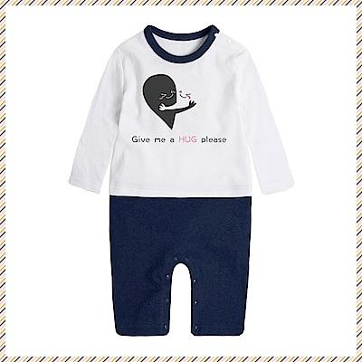 baby童衣 獨家自印 趣味文字印花藍色長袖連身衣 66338