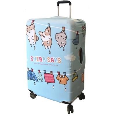 【柴語錄授權限量款 】CS0302L頑皮款L號26-28加厚款淺藍色 彈力拉桿箱保護套 行李箱套