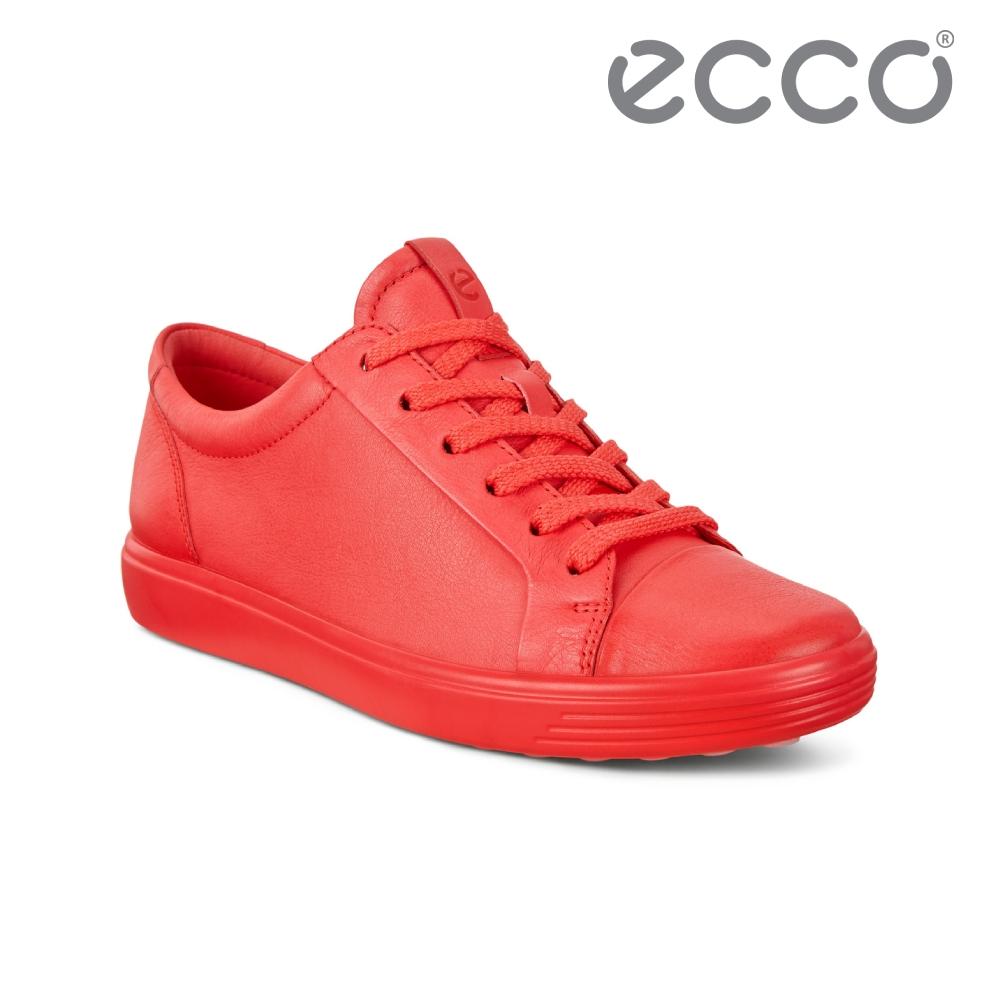 ECCO SOFT 7 W 純色皮革簡約輕巧休閒鞋 女鞋 木槿紅