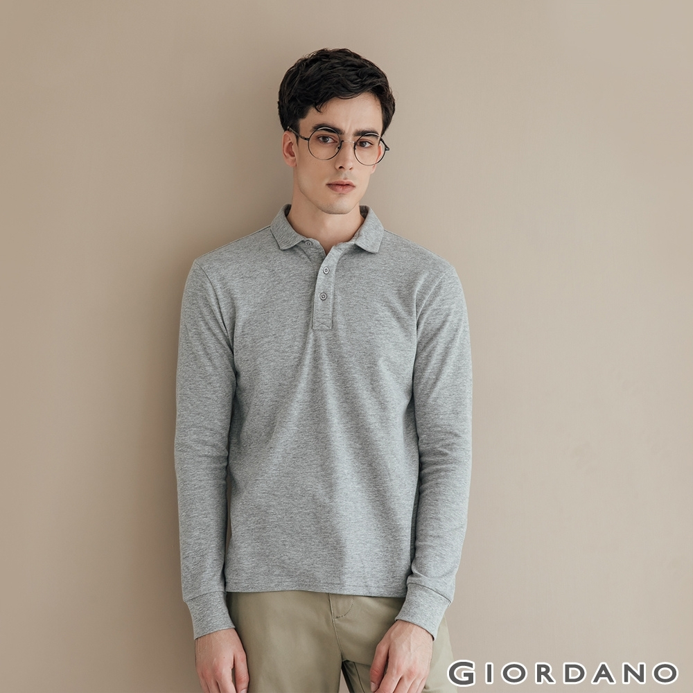 GIORDANO 男裝素色長袖POLO衫 - 04 深花灰