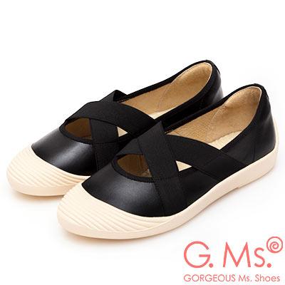 G.Ms. MIT系列-貝殼頭牛皮交叉鬆緊帶休閒便鞋-黑色
