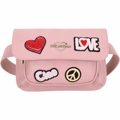 LOVE MOSCHINO 刺繡羊毛感字母補丁皮革肩胸背/腰包(粉色)