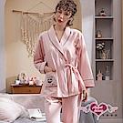 天使霓裳 暖陽愛戀 棉質二件式綁帶長袖孕婦哺乳套裝月子服(粉F)
