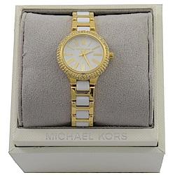 MICHAEL KORS 經典外圈水鑽羅馬刻度手錶(白/金)