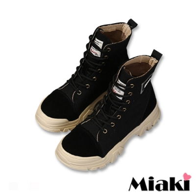 Miaki-短靴單寧綁帶厚底登山靴-黑