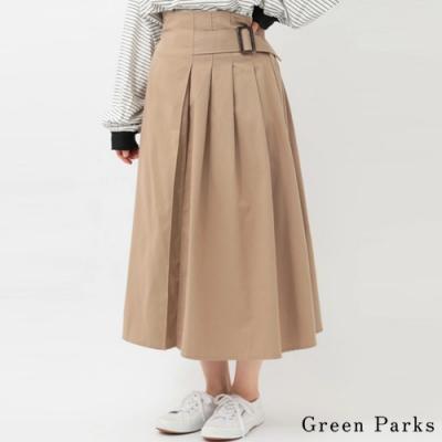 Green Parks 側腰帶褶線設計喇叭裙